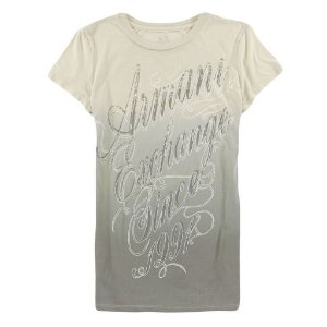 Camiseta Armani Exchange Feminina Shiny Degradé 1991 - Beige