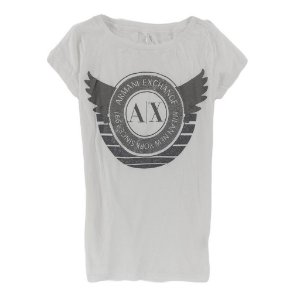 Camiseta Armani Exchange Feminina Glitter Wings - White