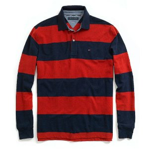 Polo Tommy Hilfiger Masculina Long Sleeve Stripe Piquet  - Navy and Red