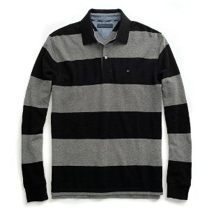 Polo Tommy Hilfiger Masculina Long Sleeve Stripe Piquet - Black and Grey