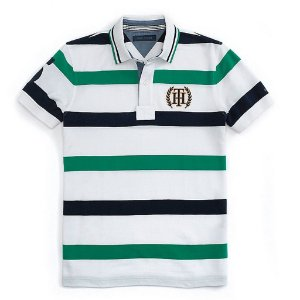 Polo Tommy Hilfiger Masculina Nautica Stripe Piquet - Green and Navy