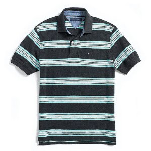 Polo Tommy Hilfiger Masculina Regular Fit Piqué - Turquoise Stripe