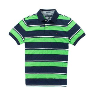 Polo Tommy Hilfiger Masculina Stripe - Navy and Green