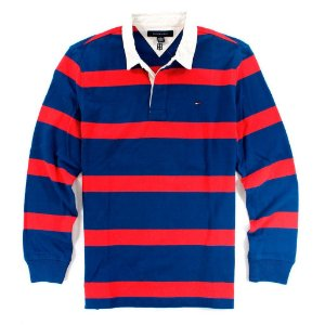 Polo Tommy Hilfiger Masculina Striped Sleeve Rugby - Red and Blue
