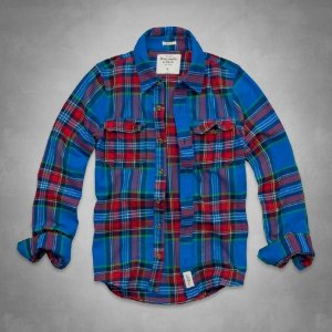 Camisa Abercrombie & Fitch Masculina Lake Harris Flannel Shirt - Blue