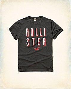 Camiseta Hollister Masculina 3D Logo - Grey