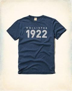 Camiseta Hollister Masculina 1922 Logo - Heather Blue