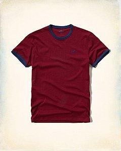 Camiseta Hollister Masculina Must-Have Crew Tee - Burgundy