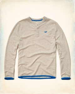 Manga Longa Hollister Masculina Henley Pique - Light Grey