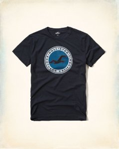 Camiseta Hollister Masculina Printed Logo Graphic Tee - Navy