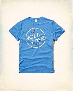 Camiseta Hollister Masculina Circled Logo - Turquoise