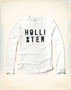 Manga Longa Hollister Filled Logo - White