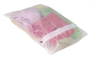 Saco de poliester p/lavar roupa G  70x110 cm - Pct c/2