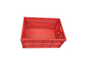 Caixa plástica dobrável PP vermelha 64litros/50kg 60x40x31cm - Pct c/1