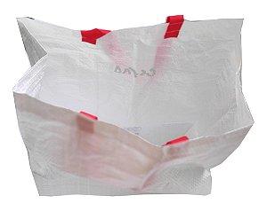 Sacola de ráfia laminada branca 40x21x39cm AL - Pct c/100