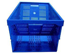 Caixa plástica dobrável PP azul 64 l/50kg 60x40x31cm - Pct c/5