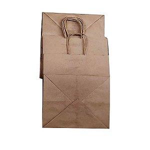 Sacolas de papel kraft 120g 25x22x30cm delivery - Pct c/100