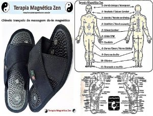 chinelo de massagem do-in magnético oriental Terumi