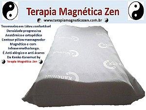 Travesseiro Magnético com Infravermelho longo, anatômico ortopédico com densidade confortável em látex massageador Kenko Kanemut by Terapia Magnética Zen