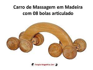 Carro Articulado de Massagem em Madeira com 08 Bolas relaxantes