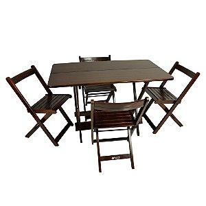 Mesa Prime 120x70cm Imbuia com 4 cadeiras Prime (encosto Curvo)