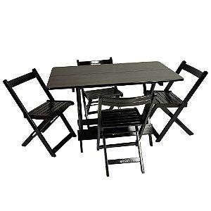 Mesa Prime 120x70CM Preta 4 Cadeiras Prime (encosto curvo)