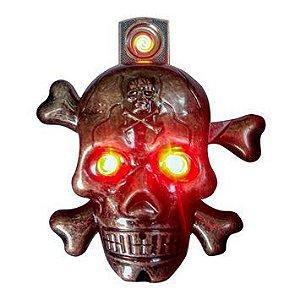 Isqueiro Elétrico de Bolso em Metal Caveira com Som e Luz Recarregável USB