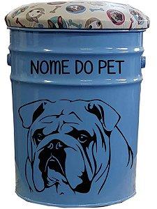 Porta Ração / Banqueta Bulldog Inglês (Azul)