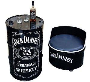 Kit Tema Jack Daniel's - Tambor Decorativo Aparador + 1 Poltrona de tambor