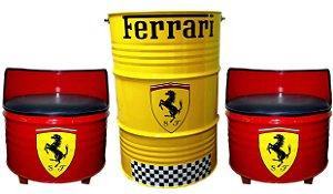 Kit Tema Ferrari - Tambor decorativo Aparador  + 2 Poltronas de tambor