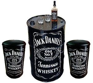 Kit Tema Jack Daniel's - Tambor Decorativo Aparador + 2 Banquetas de Tambor