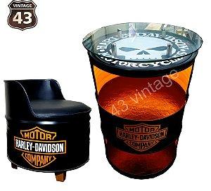 Kit Harley Davidson - Barzinho com led e tampo de vidro + 1 Poltrona
