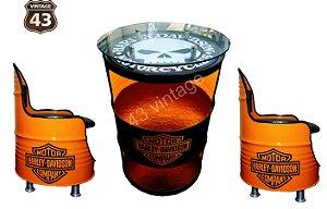 Kit Harley Davidson - Barzinho com led e tampo de vidro + 2  Poltronas