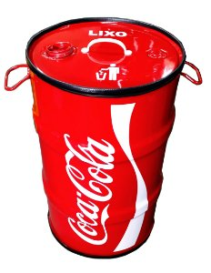 Lixeira de Tambor 80 Litros - Tema Coca Cola