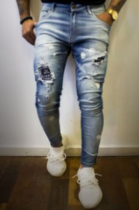 CALÇA CITY DENIM SPLASHED SQUARE