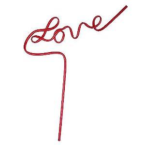 Canudo de Plástico LOVE vermelho - Pacote com  6 unidades