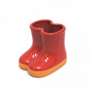 Vaso Botinha De Cerâmica Vermelho - 01 unidade
