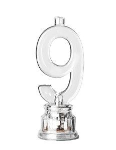 Velas de Led Número 9 Com Suporte - Transparente - 01 unidade