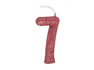 Vela Número 7 - Rose Gold - 01 unidade