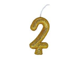 Vela Número 2 - Ouro - 01 unidade