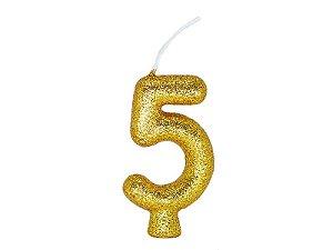 Vela Número 5 - Ouro - 01 unidade