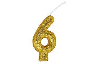 Vela Número 6 - Ouro - 01 unidade