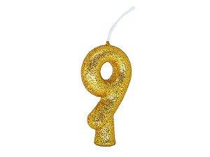 Vela Número 9 - Ouro - 01 unidade
