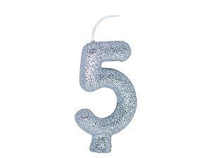 Vela Número 5 - Prata - 01 unidade