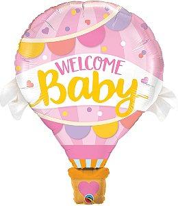 Balão Bem-vindo Bebê Balão Rosa - 01 unidade