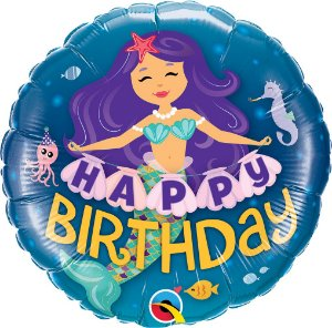 Balão Sereia Feliz Aniversário - 01 unidade