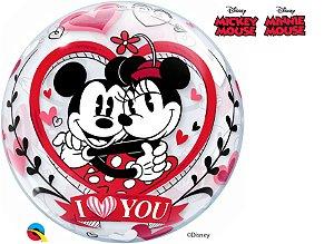 Balão Bubble Eu te Amo com Mickey e Minnie da Disney - 01 unidade