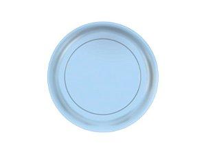 Prato de Papel - Azul Bebê - Pacote com 8 Unidades