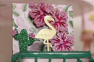 Aplique Acrílico Dourado 7cm - Flamingo / Tropical - 04 unidades
