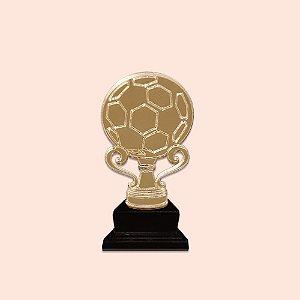 Aplique Acrílico Dourado 5cm - Troféu de Futebol com Bola  - 04 unidades